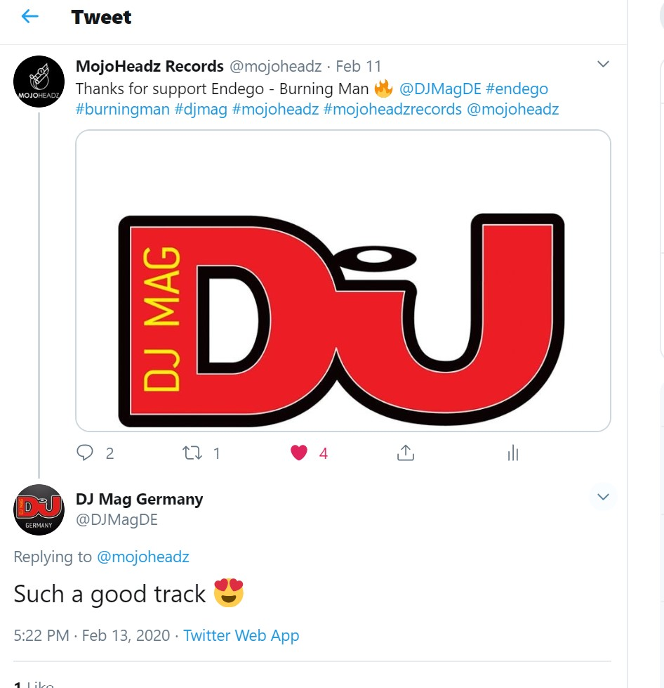 Declaration of love from a DJ MAG on Mojoheadz Twitter! | MojoHeadz Records | We don't fake it - we make it!